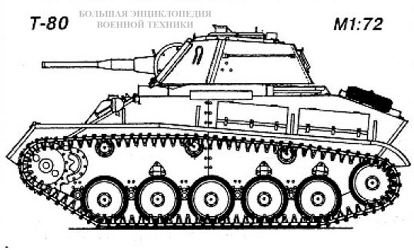 Общий вид легкого танка Т-80