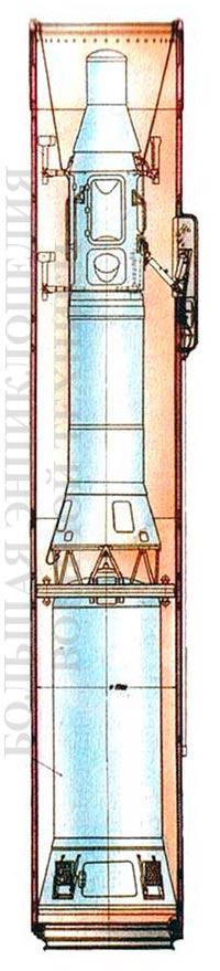 Проекции ракеты РТ-15 в ТПК 15Я25